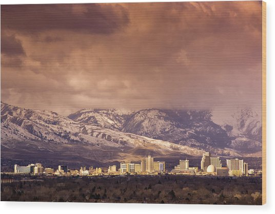 Stormy Reno Sunrise Wood Print