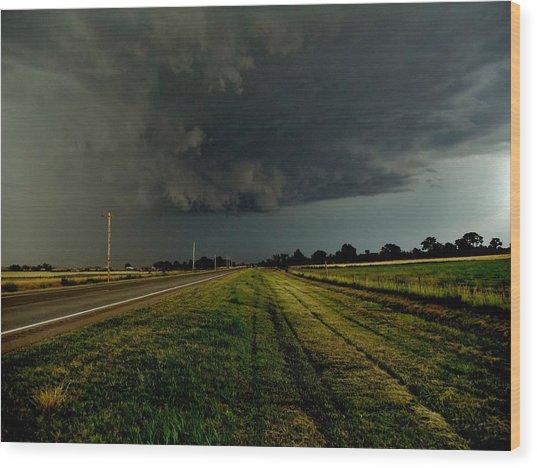 Stormy Road Ahead Wood Print