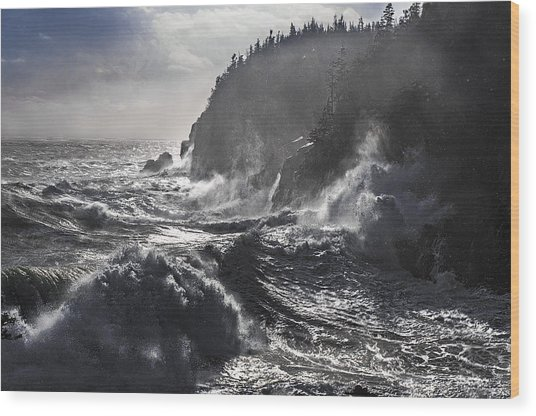 Stormy Seas At Gulliver's Hole Wood Print