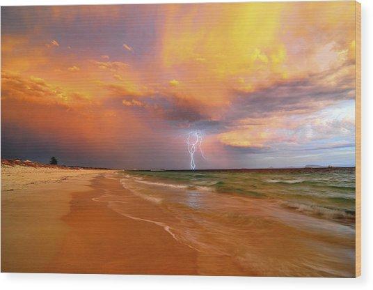Stormy Skies - Lightning Storm In Esperance Wood Print by Sally Nevin