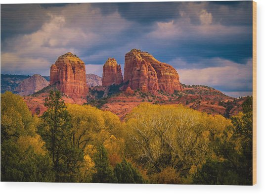 Stormy Skies Over Cathedral Rock Wood Print