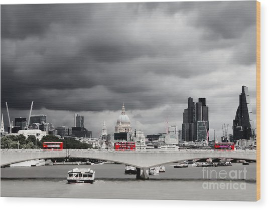 Wood Print featuring the photograph Stormy Skies Over London by Jeremy Hayden