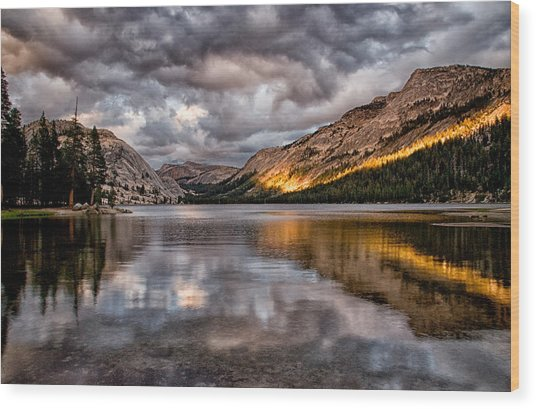 Stormy Sunset At Tenaya Wood Print