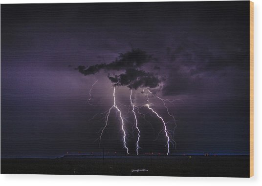 Stormy Wind Farm Wood Print