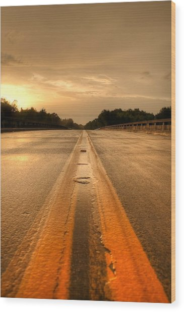Stormy Yellow Lines Wood Print by David Paul Murray
