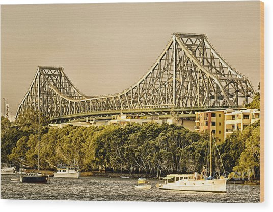 Story Bridge - Icon Of Brisbane Australia Wood Print