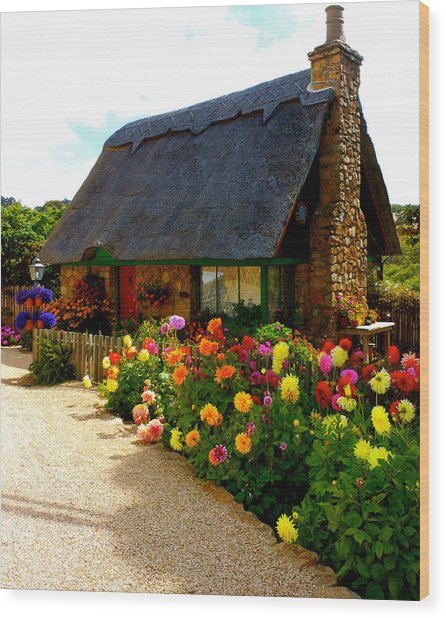 Storybook Cottage By The Sea Wood Print