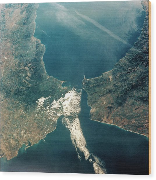 Strait Of Gibraltar Wood Print by Nasa/science Photo Library