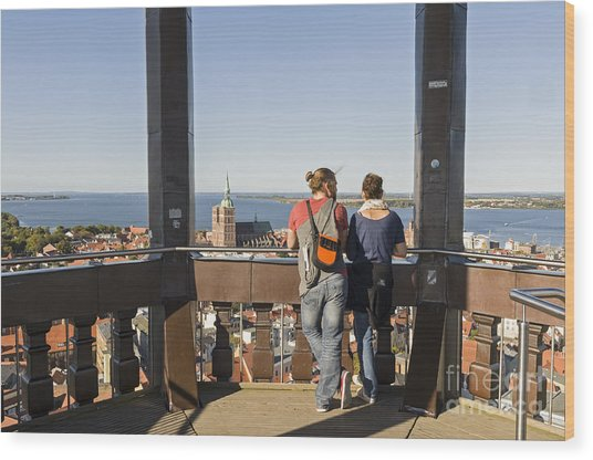 Stralsund From St Marys Church Germany Wood Print by David Davies