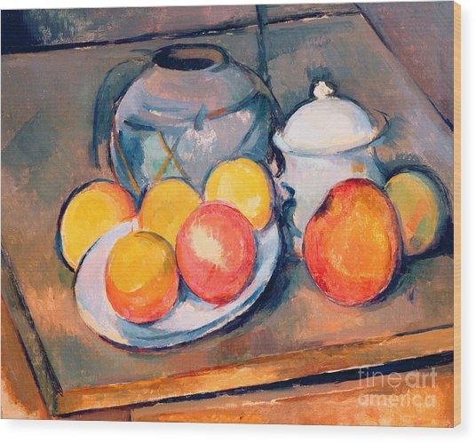 Straw Covered Vase Sugar Bowl And Apples Wood Print