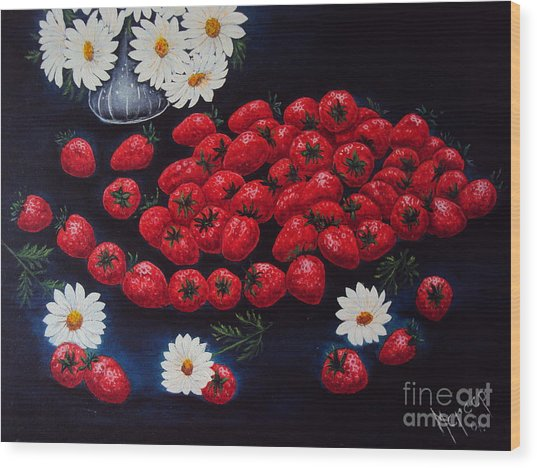 Strawberries And Daisies Original Painting Oil On Canvas Wood Print by Drinka Mercep