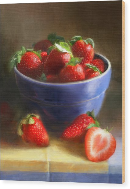 Strawberries On Yellow And Blue Wood Print