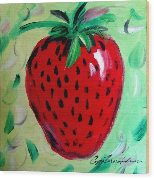 Strawberry Wood Print by Cynthia Hudson