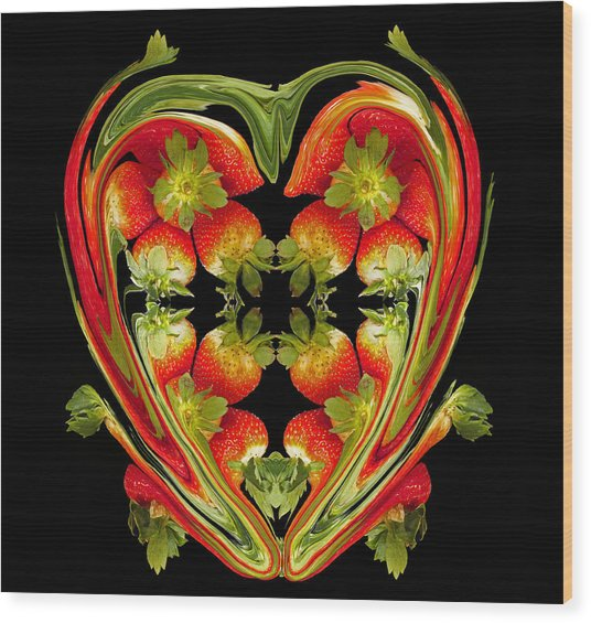 Strawberry Heart Wood Print