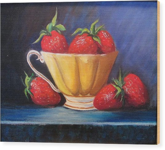 Strawberry Teacup Wood Print