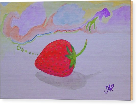 Strawberry Thoughts Wood Print
