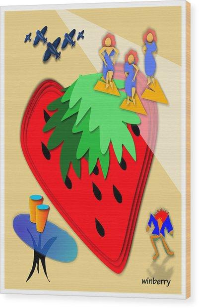 Strawberry Wars Wood Print by Bob Winberry