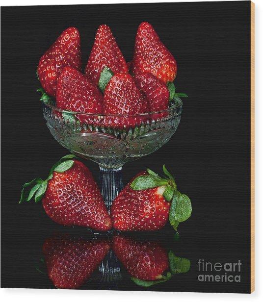 Strawberry Yum Wood Print