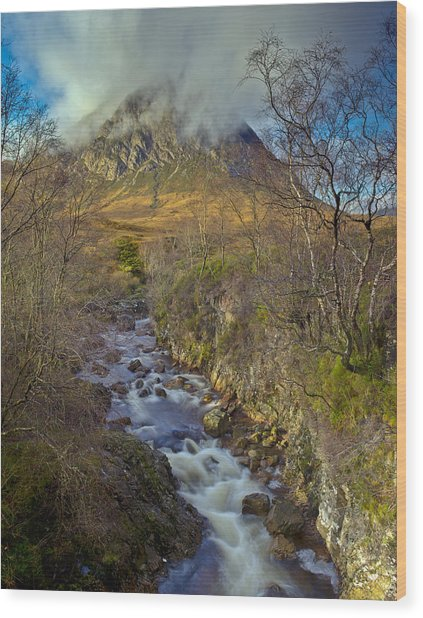 Stream Below Buachaille Etive Mor Wood Print