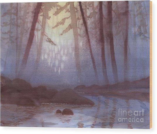 Stream In Mist Wood Print