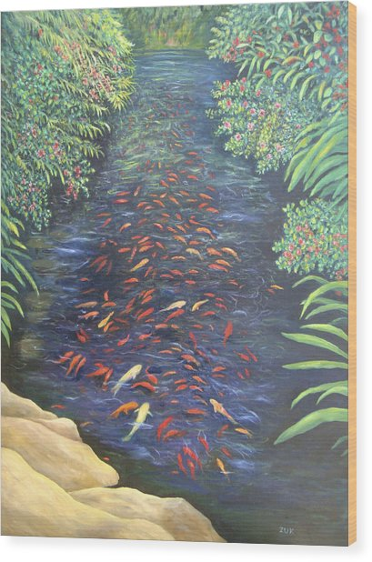 Stream Of Koi Wood Print