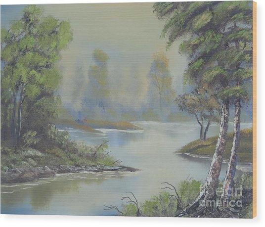 Stream Through The Woods Wood Print