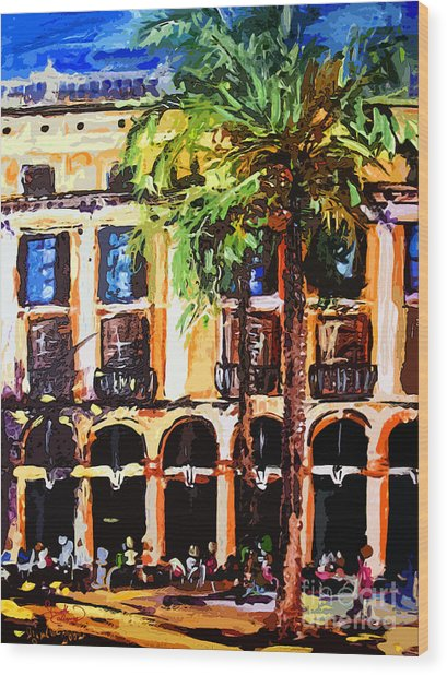 Street Cafe In Barcelona Wood Print