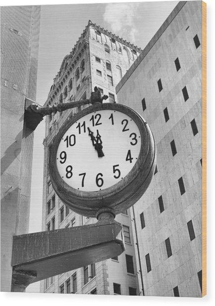Street Clock Wood Print
