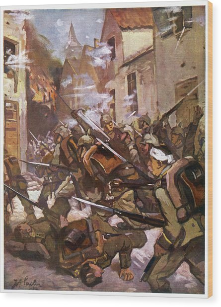 Street Fighting In A French  Village Wood Print by Mary Evans Picture Library