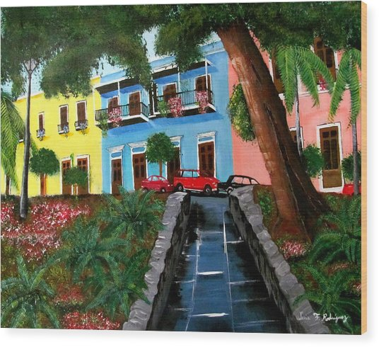 Street Hill In Old San Juan Wood Print