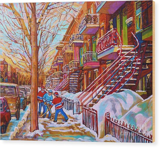 Street Hockey Game In Montreal Winter Scene With Winding Staircases Painting By Carole Spandau Wood Print