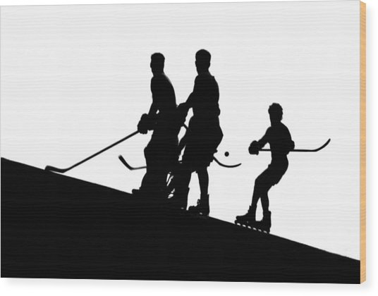 Street Hockey Wood Print