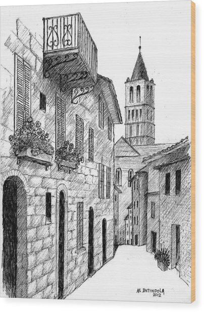 Street In Assisi Italy Wood Print