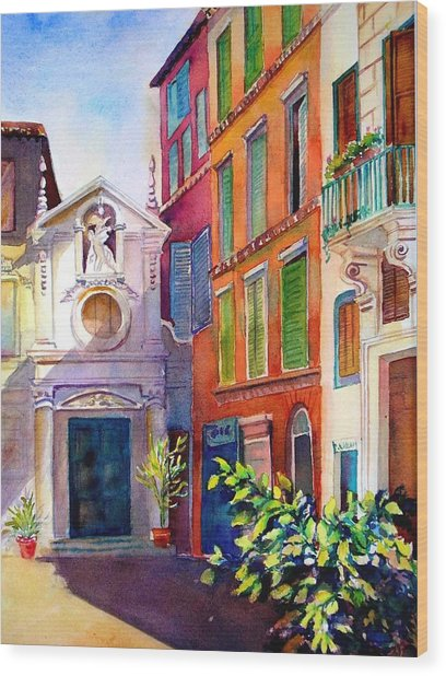 Street In Rome Wood Print
