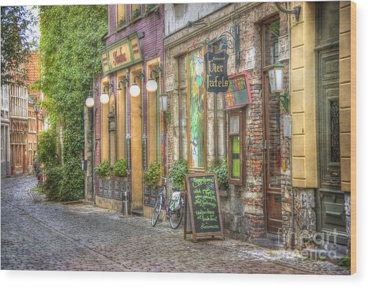Street In Ghent Wood Print