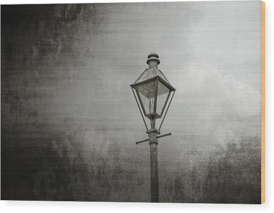 Street Lamp On The River Wood Print