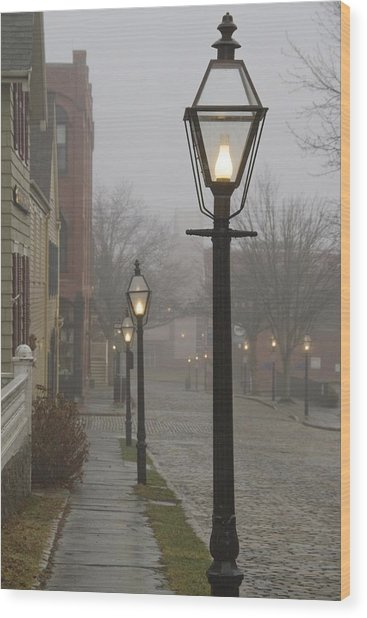 Street Lamps On Johnny Cake Hill Wood Print