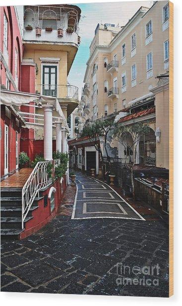 Street Of Capri Wood Print
