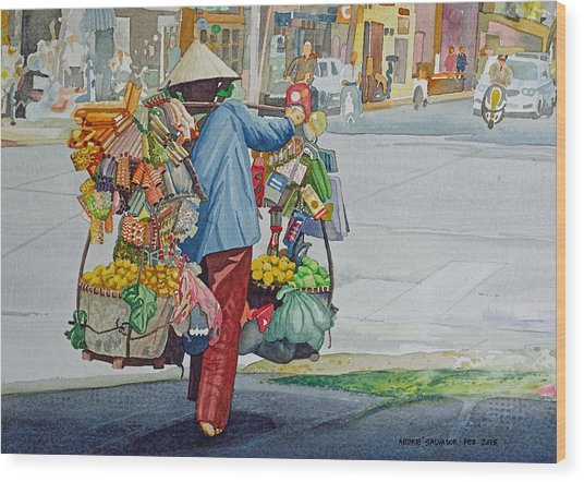 Street Peddler Wood Print