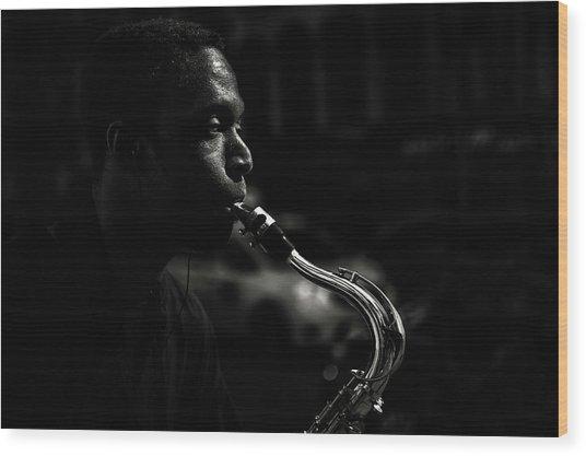 Street Saxophone Musician Wood Print