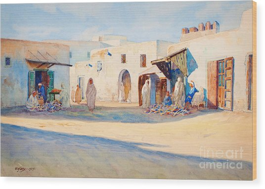 Street Scene From Tunisia. Wood Print