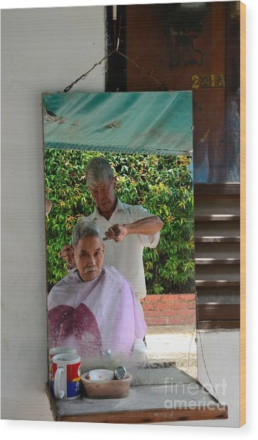 Street Side Barber Cuts Client Hair Singapore Wood Print