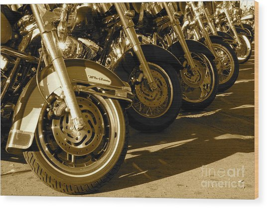 Street Vibrations Sepia Wood Print by Vinnie Oakes