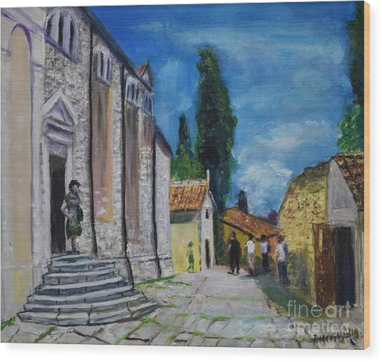 Street View In Rovinj Wood Print