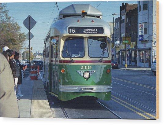 Streetcar In Philadelphia Wood Print by Eric Miller