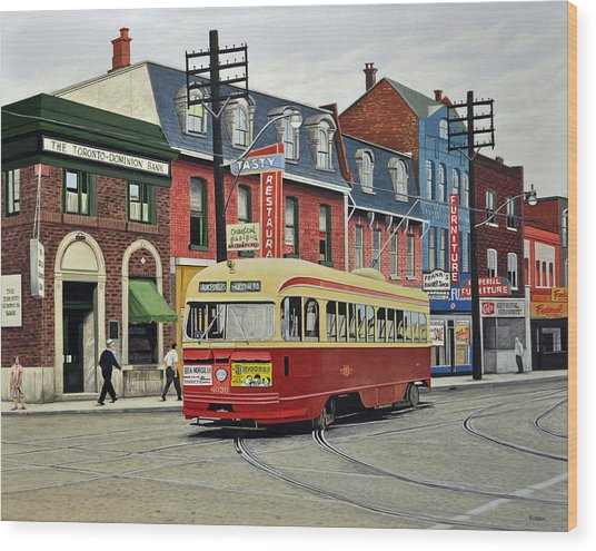 Streetcar On Queen Street 1963 Wood Print