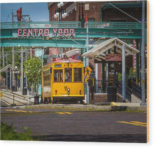 Streetcar Wood Print by Ybor Photography