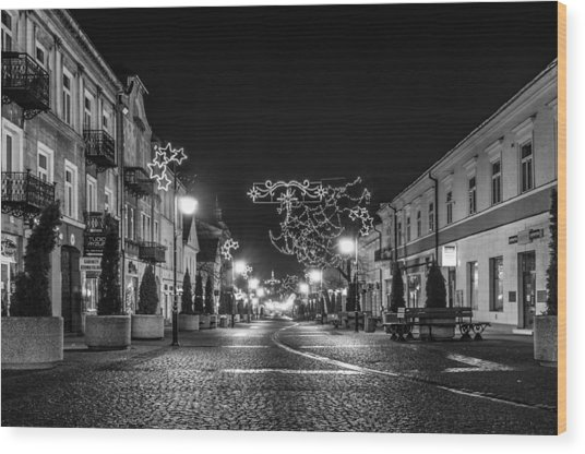 Streets Before Christmas Wood Print