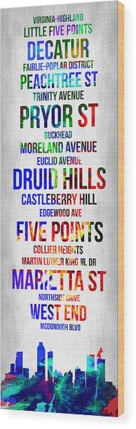 Streets Of Atlanta 1 Wood Print