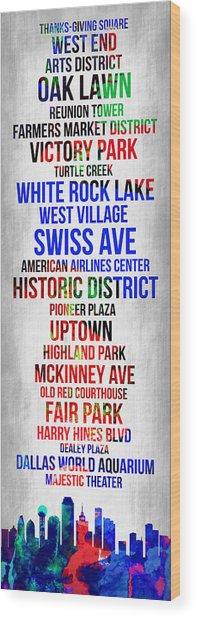 Streets Of Dallas 1 Wood Print